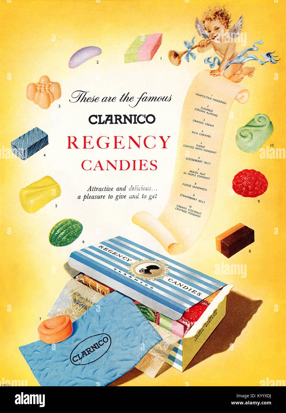 1954 anuncio británico para Clarnico Regency caramelos. Imagen De Stock