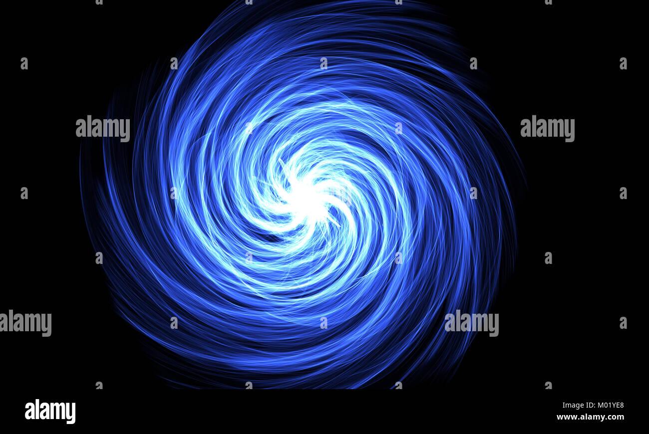 Absract azul en espiral. Fondo oscuro. Llama la serie espiral Foto de stock