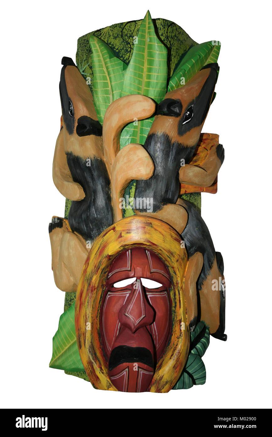 Máscara de Indio Boruca de Costa Rica con el sur de Tamandua Foto de stock