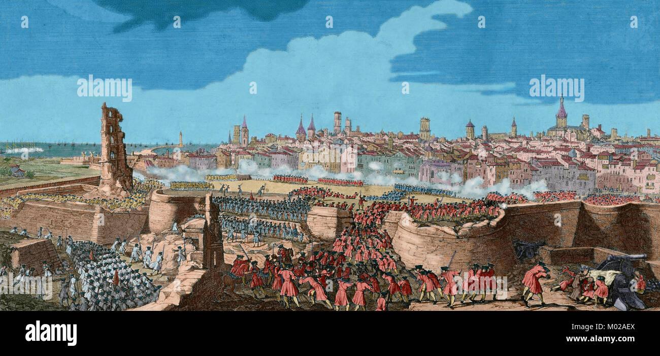 La Guerra de Sucesión Española (1702-1715). La entrada de las tropas de Felipe V en Barcelona en 1714, la apertura de brechas en la muralla de la ciudad, con fusiles y minas, para representar el lugar. Dibujo de P. Rigaud y grabado por M. Engelbrecht, 1722. Coloreada. Foto de stock
