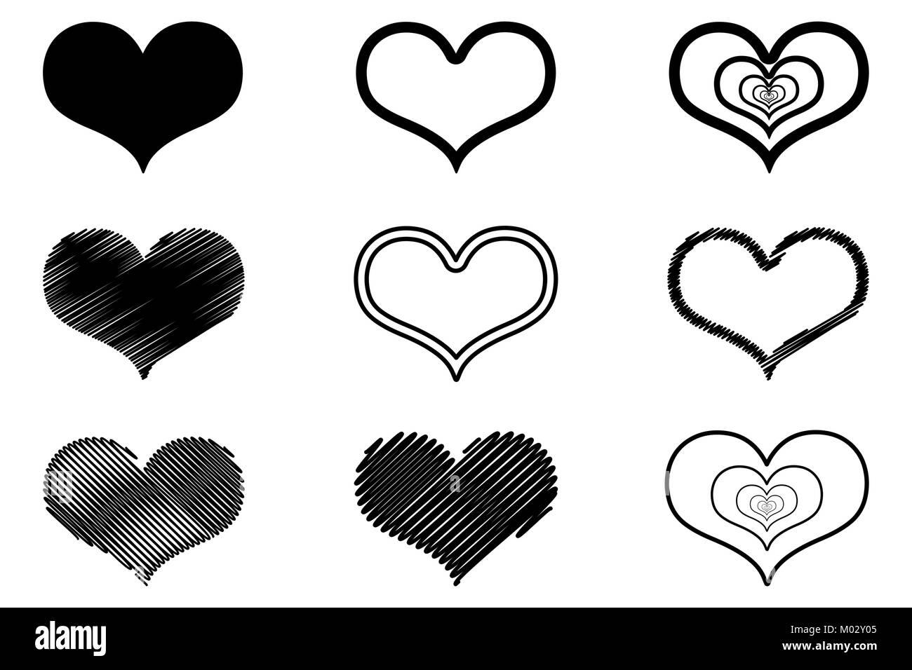 Vector Corazones Negro Conjunto De Iconos Dibujadas A Mano
