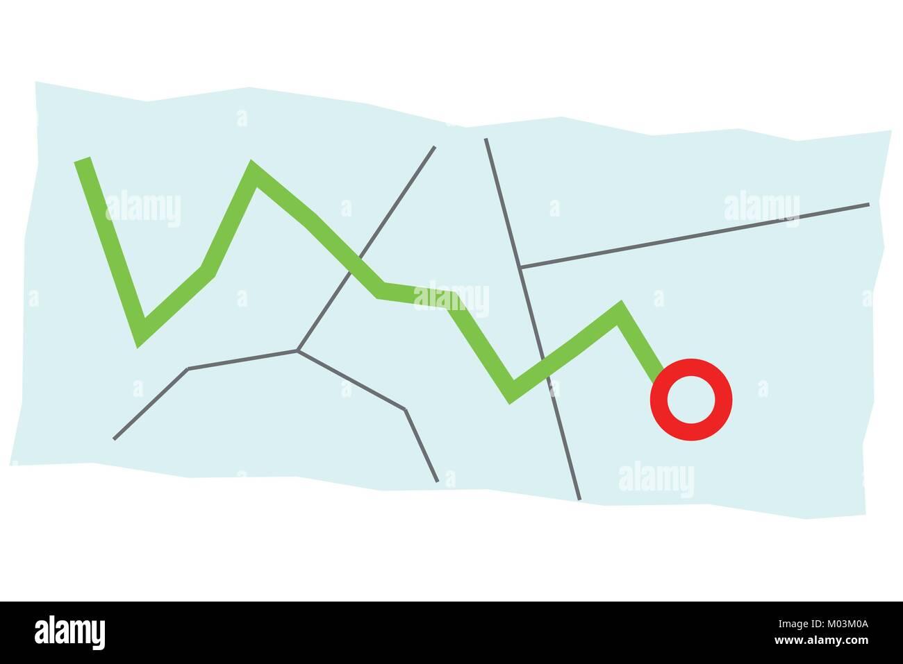 Ilustración de un mapa con diferentes caminos y marcó un destino y ...