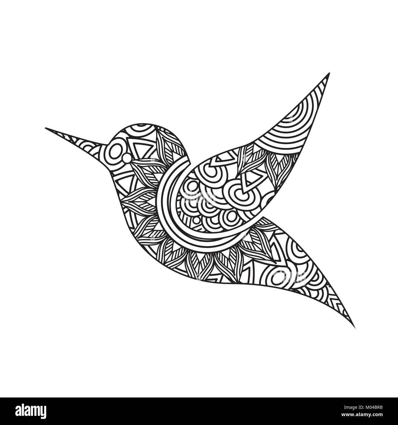 Dibujo para colorear zentangle pájaro adulto página Ilustración del ...