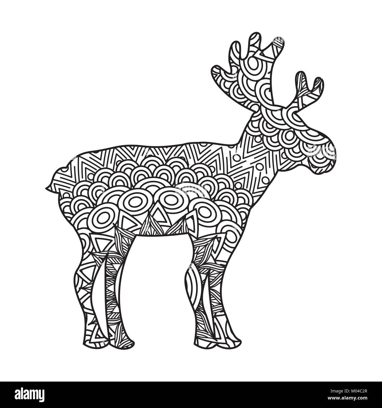 Dibujo para colorear zentangle ciervos adultos página Ilustración ...
