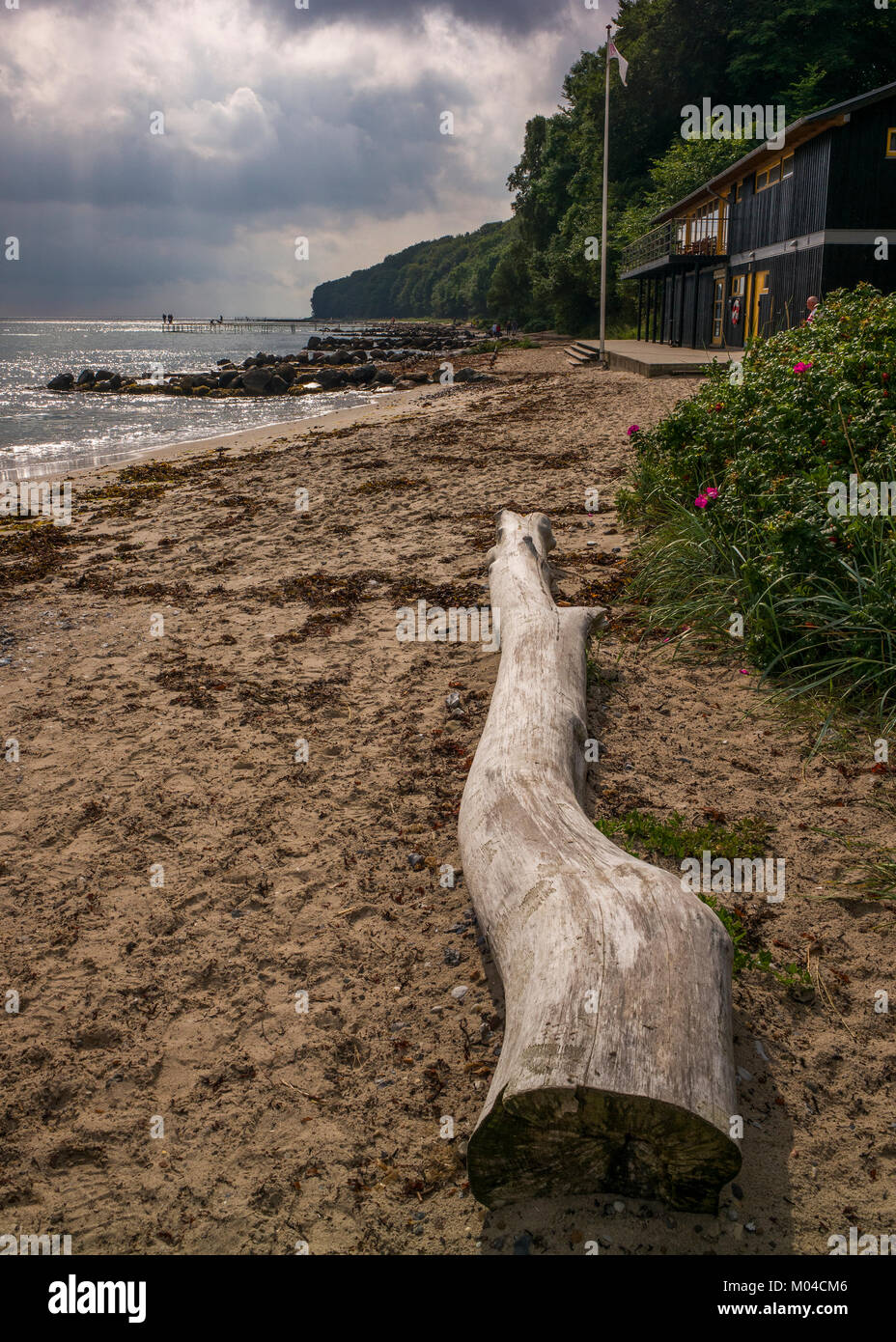 Registro playa arrastrados hasta el infinito Bridgea escultura realizada por el arquitecto danés studio & Povlsgaard Arkitekter Gjøde Foto de stock