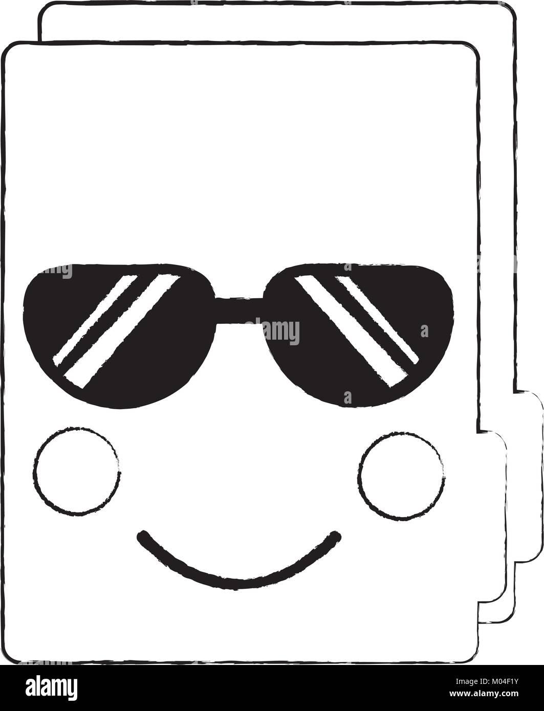 b27801d2 Archivo Carpeta Imagen de icono kawaii con gafas de sol Ilustración ...