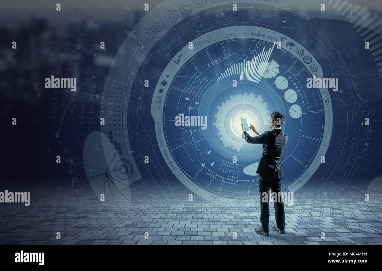 Concepto de negocio y tecnología, tecnología financiera, Internet de las cosas, la imagen abstracta visual Imagen De Stock