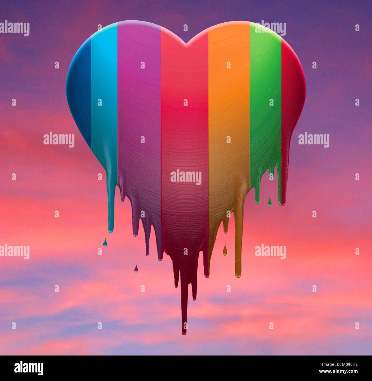 Corazón arco iris de colores en el modo de fusión. Imagen De Stock