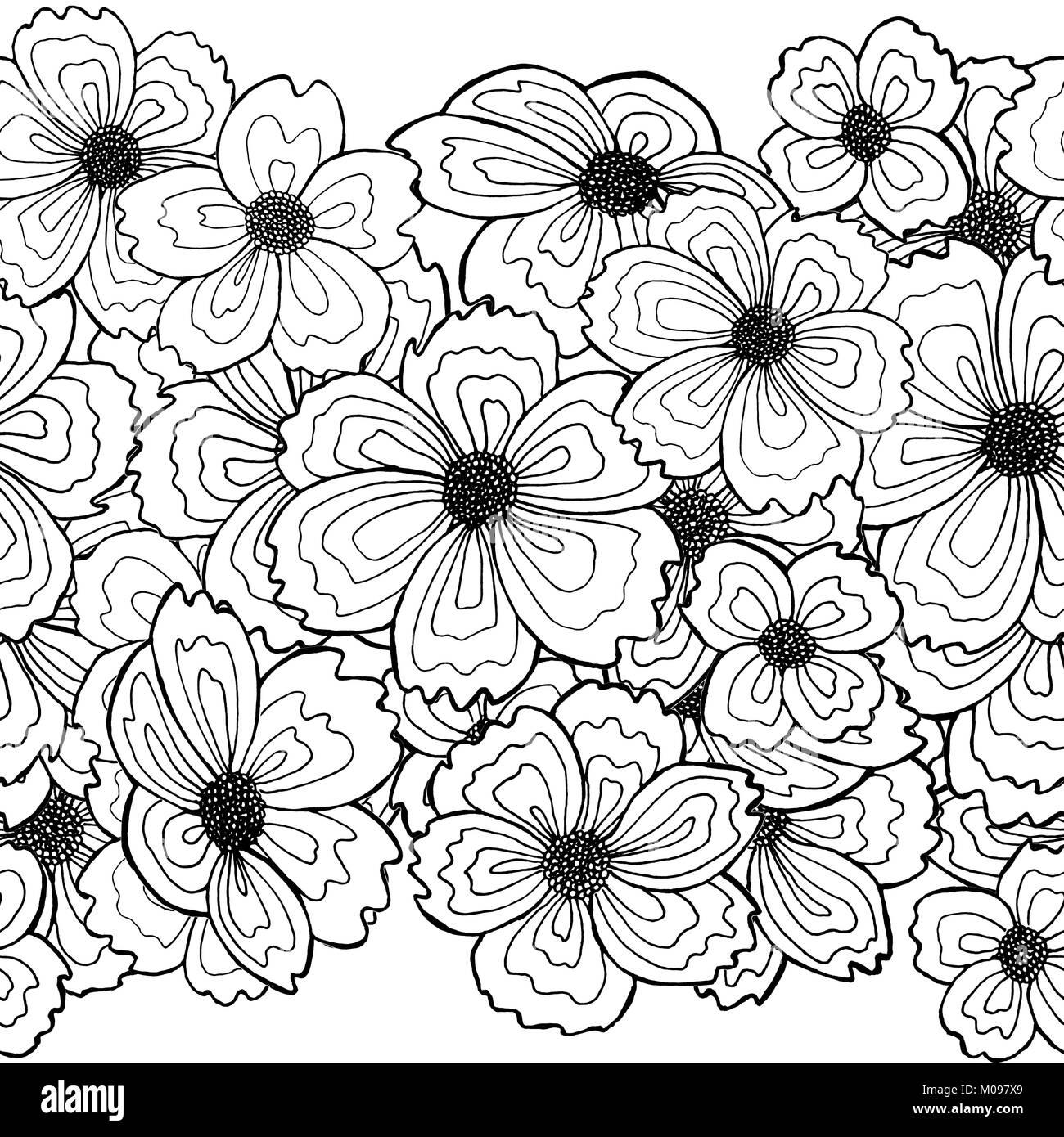 Borde Repetible De Flores Dibujadas A Mano La Técnica Del Dibujo De