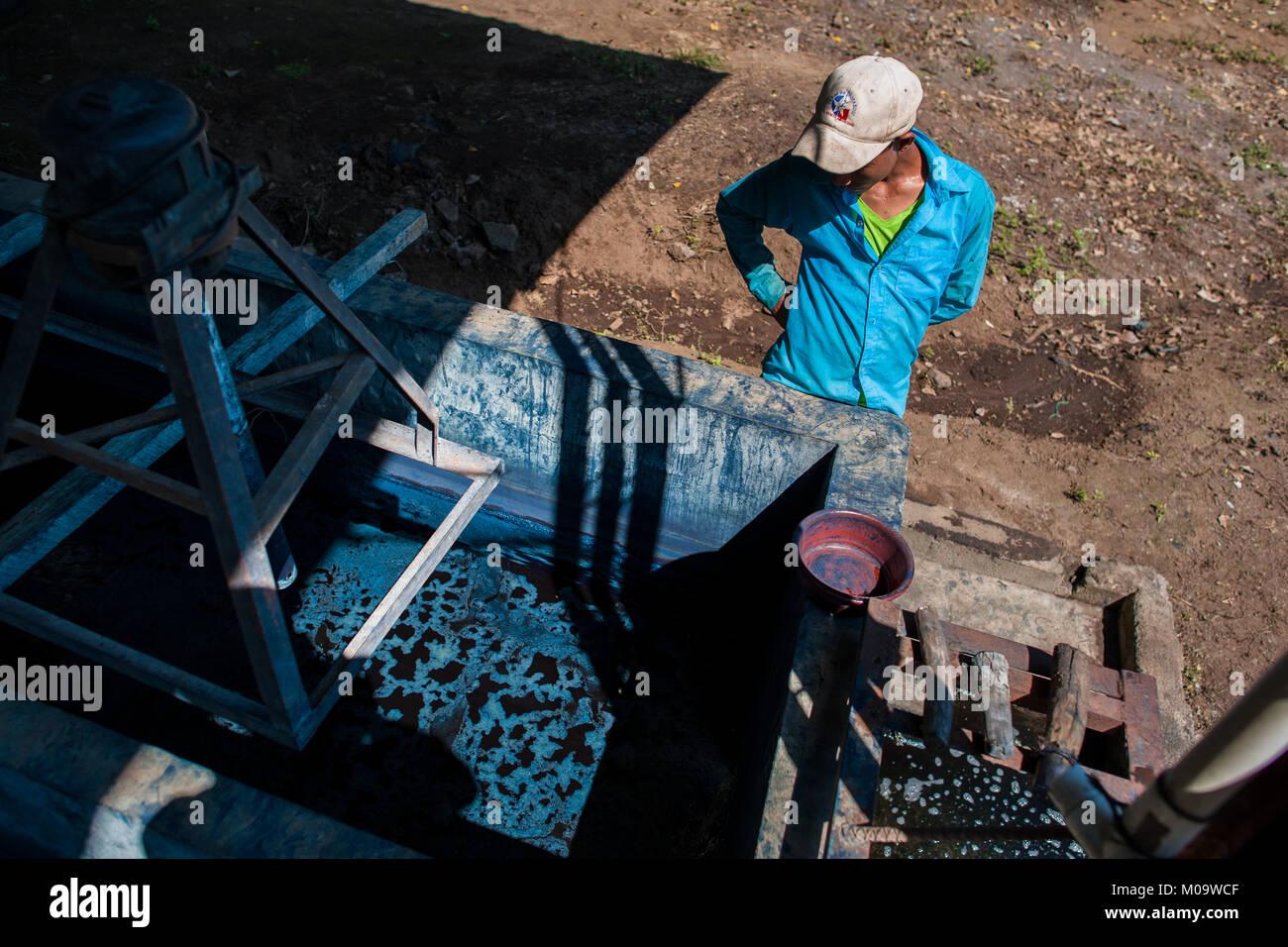 Un trabajador agrícola salvadoreño controla el procesamiento de indigo en el semi-fabricación industrial Imagen De Stock