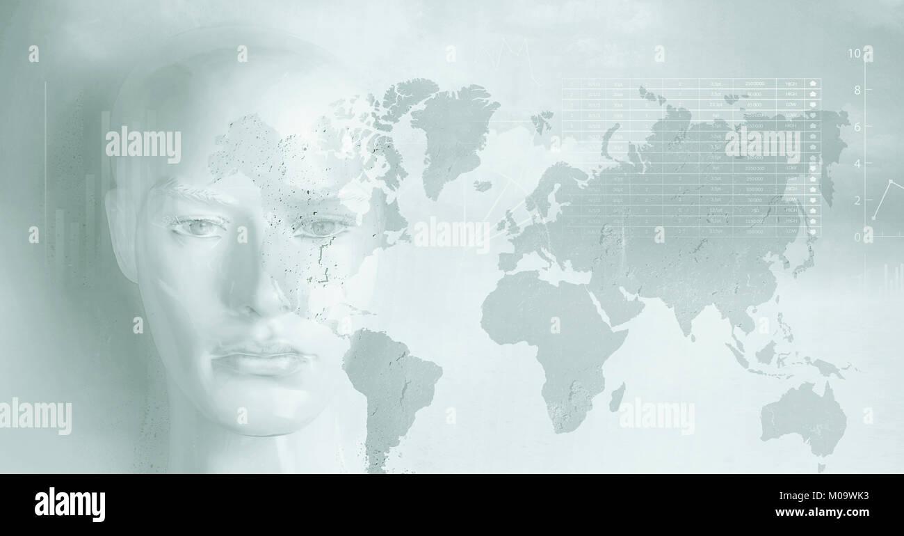 Concepto de inteligencia artificial - gráficos y diagramas Imagen De Stock