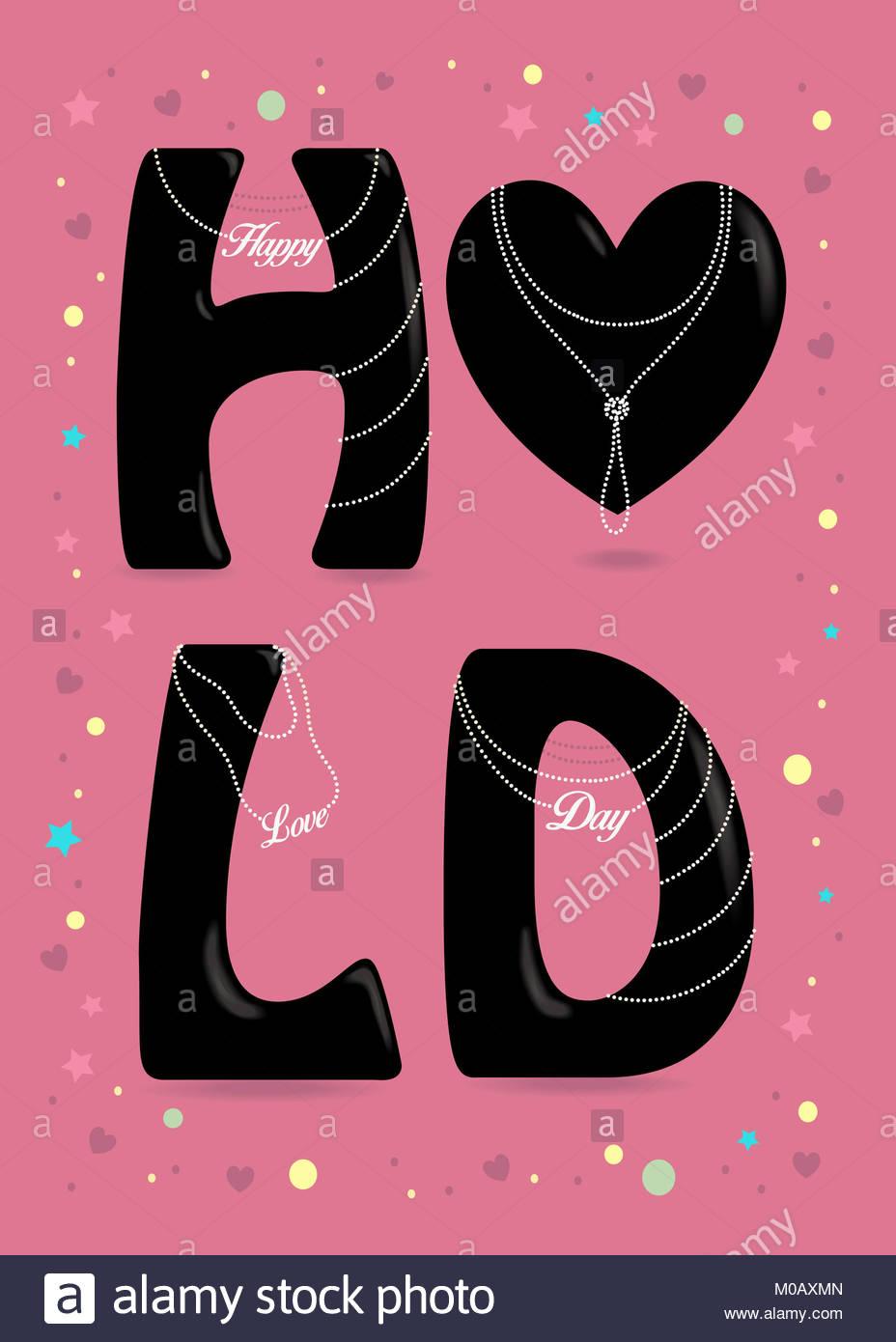 Feliz Día del Amor. Gran corazón negro y letras - H, L y D. collares ...