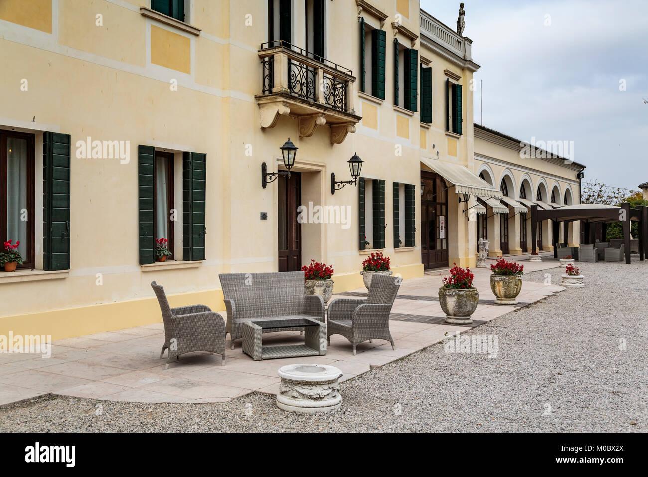 El hotel Villa Braida Mogliano Veneto, Venecia, Italia, Europa. Imagen De Stock