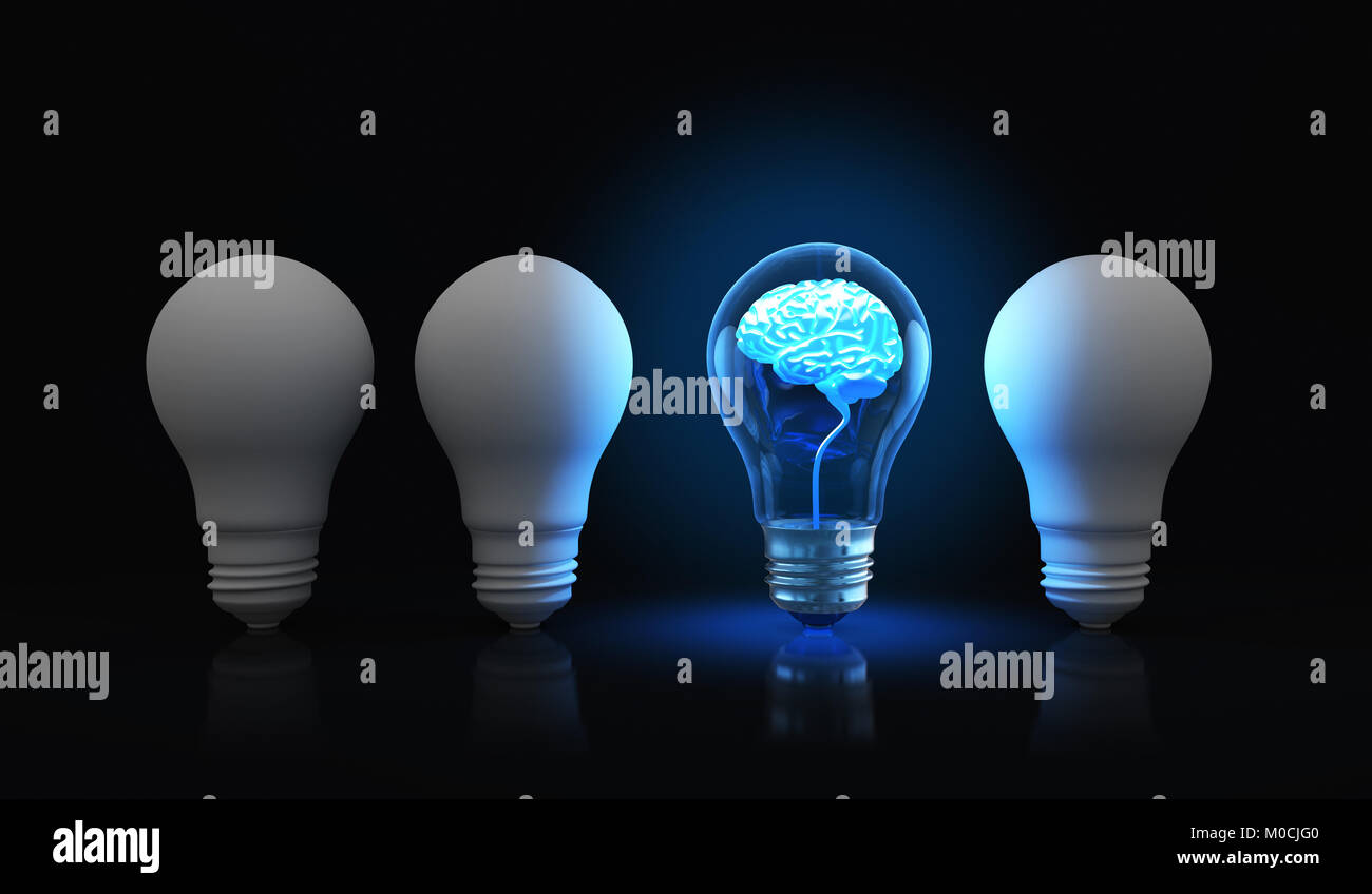 Bombilla con cerebro brillante dentro.3D ilustración Foto de stock