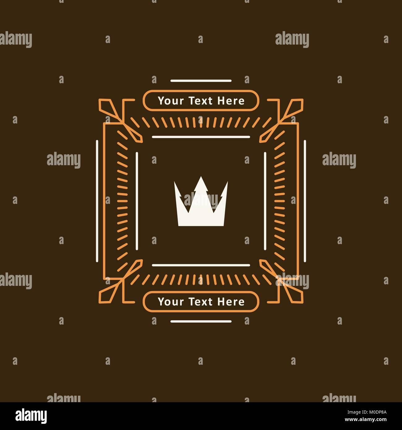 Resumen en línea mono estilo decorativo marco con corona y copiar ...