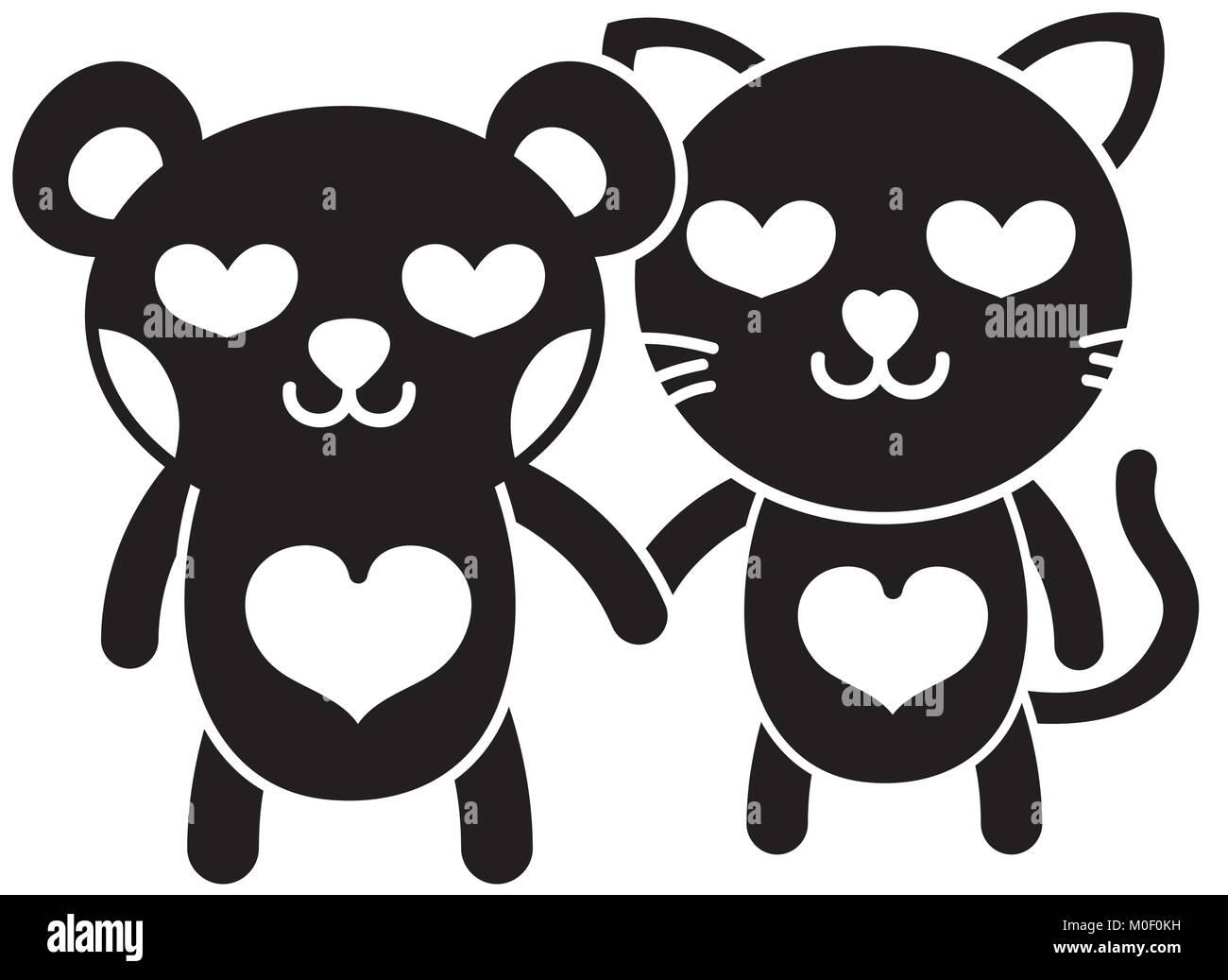 Silueta Enamorado Oso Y Gato Par Los Animales Ilustración Del Vector