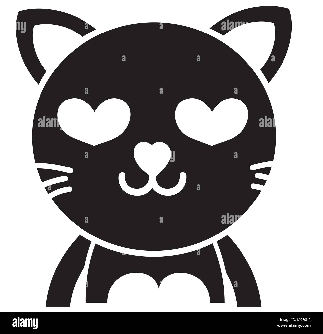 Silueta Animal Felino Adorable Gato Enamorado Ilustración Del Vector