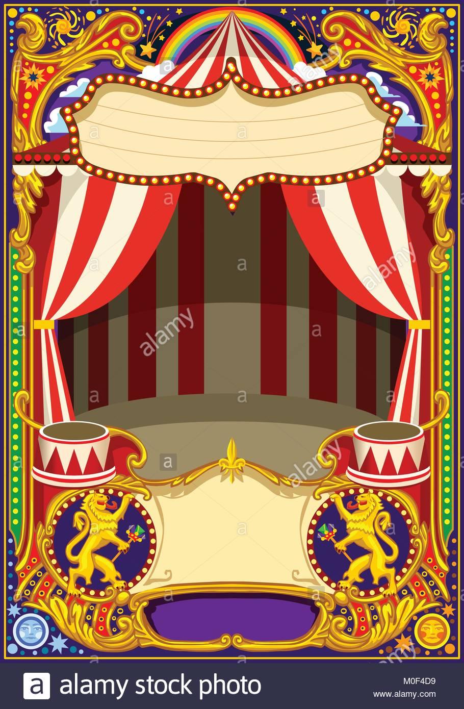 Póster de circo o tarjeta tema. Vintage bastidor con carpa de circo ...
