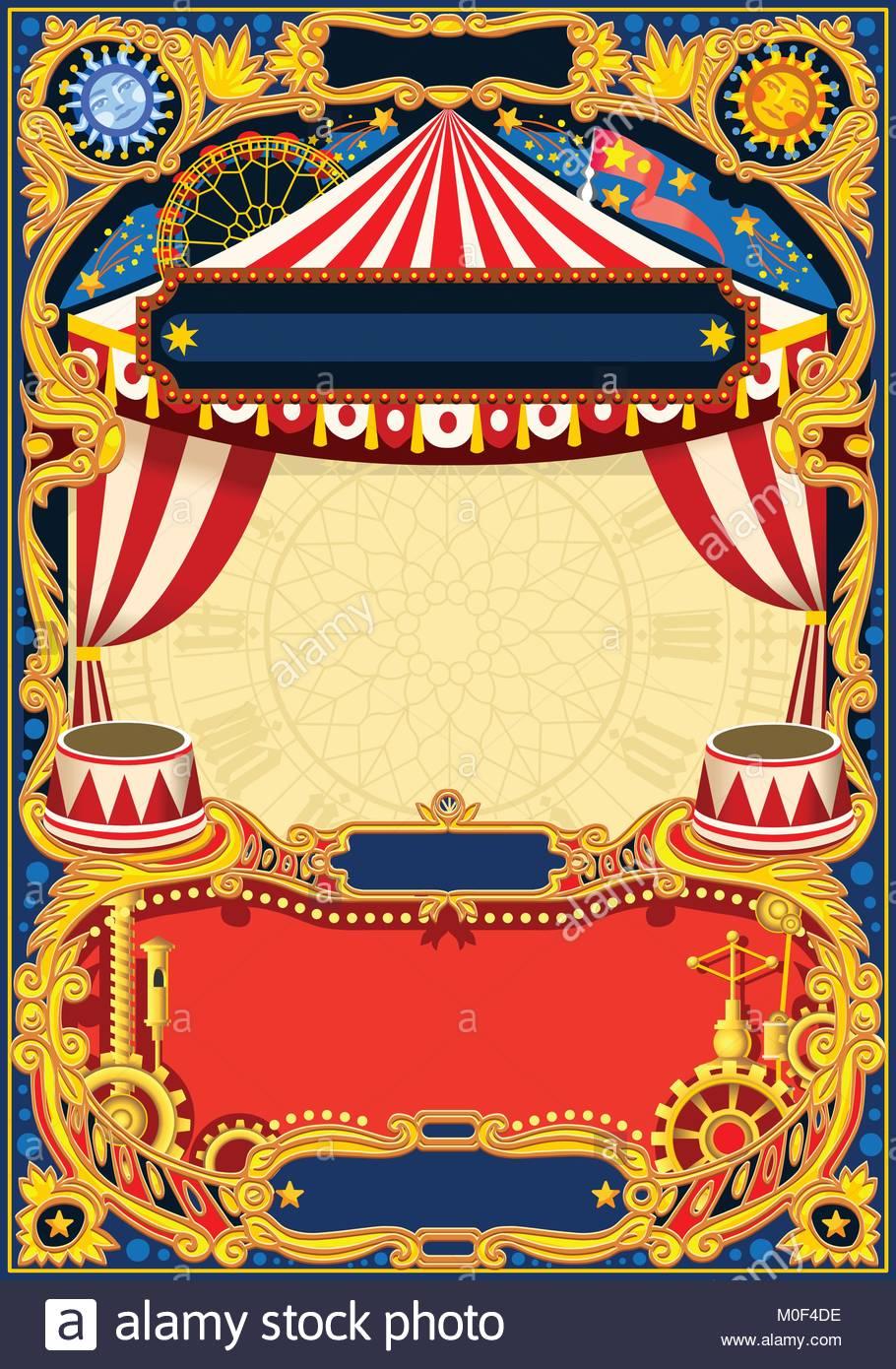 Circo bastidor editable. Vintage plantilla con carpa de circo para ...