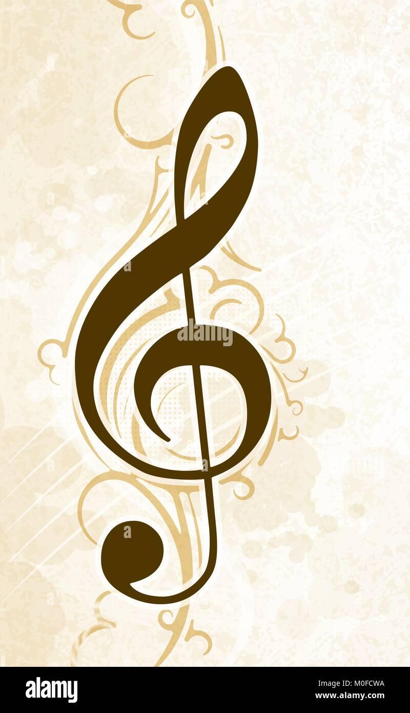 Resumen Fondo Musical Con Clef Agudo En Tonos Claros Ilustración Del