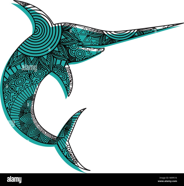 Dibujadas a mano para adultos páginas para colorear con pez marlin ...