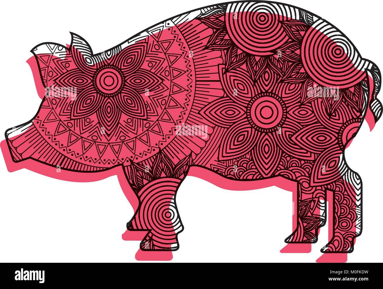 Dibujadas a mano para adultos páginas para colorear con cerdo ...