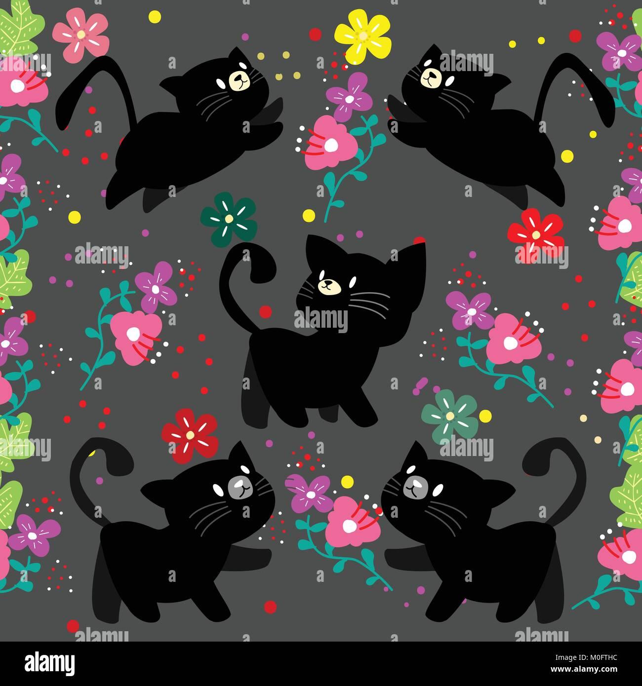 Lindo Gato Patrón Sin Fisuras Con Flor Sobre Fondo De Colores