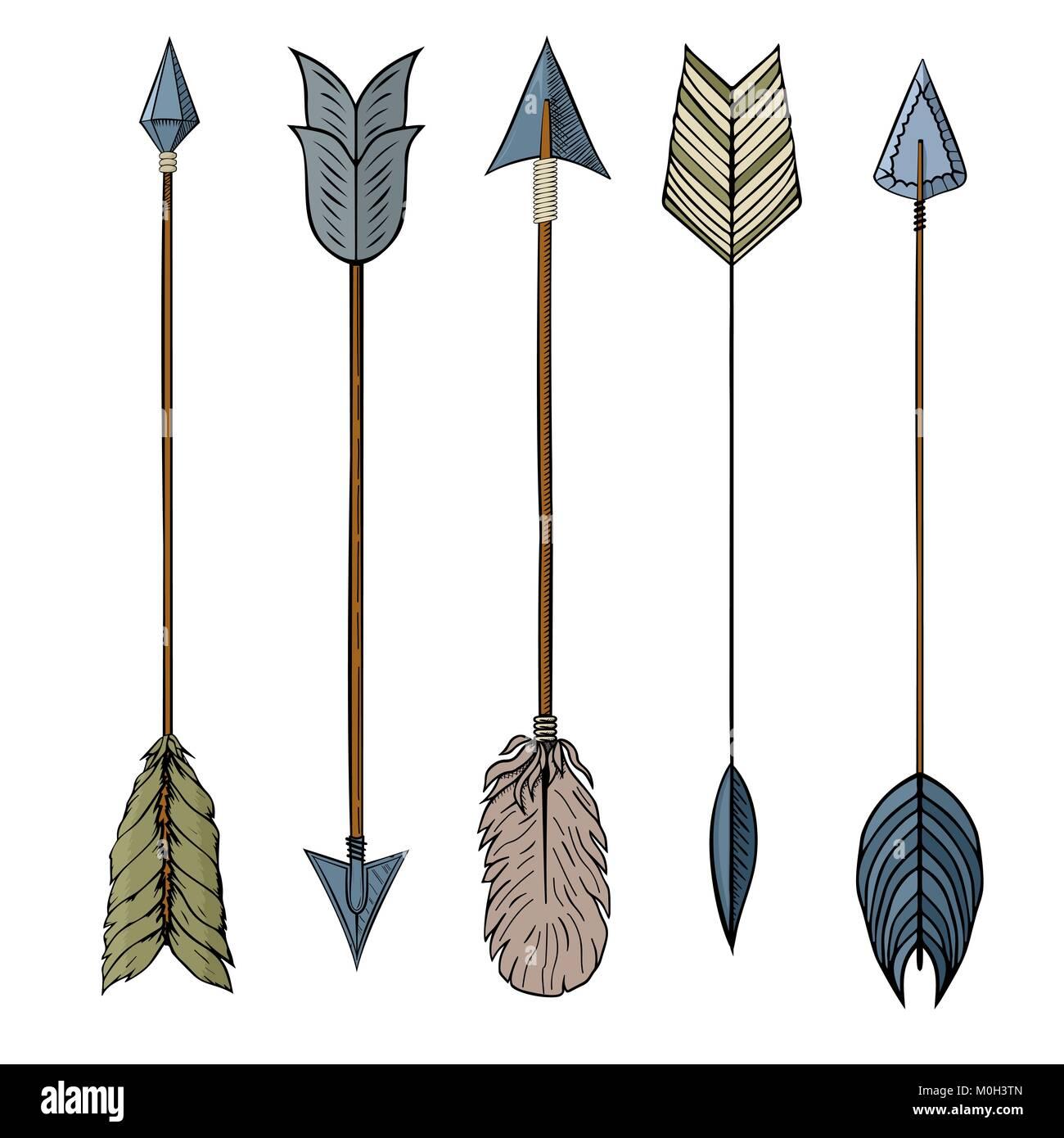 Conjunto De 5 Colores De Tinta De Dibujo A Mano Alzada Flecha
