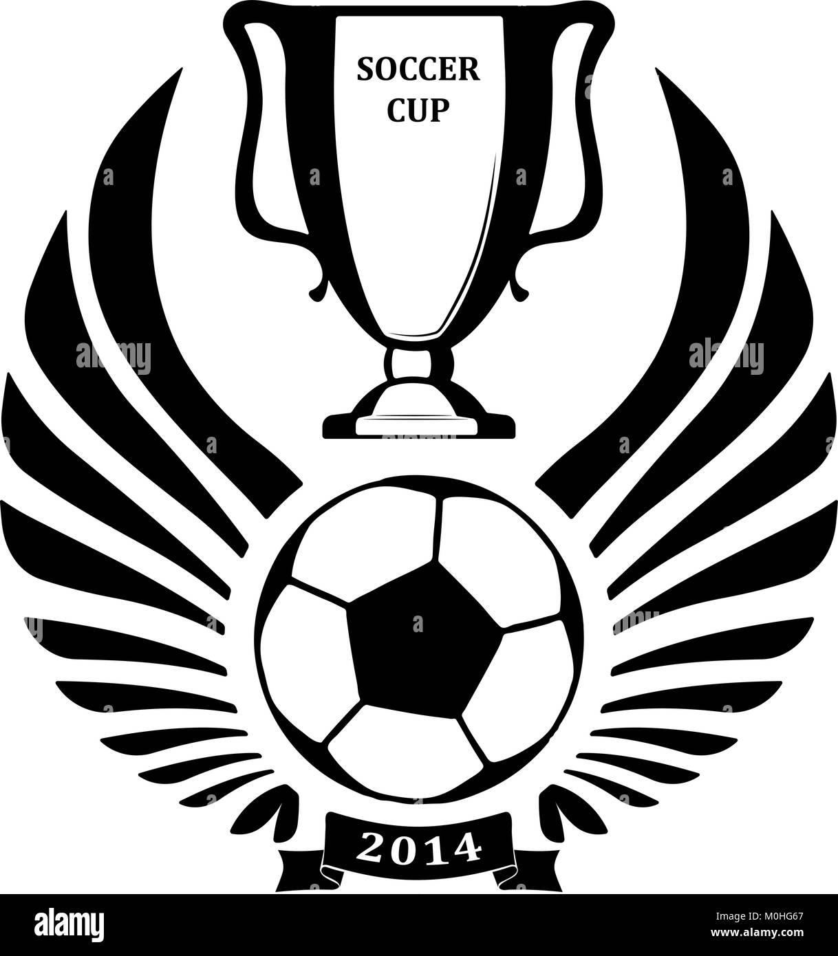 Diseño Con Pelota De Fútbol Copa Y Alas Ilustración Del Vector
