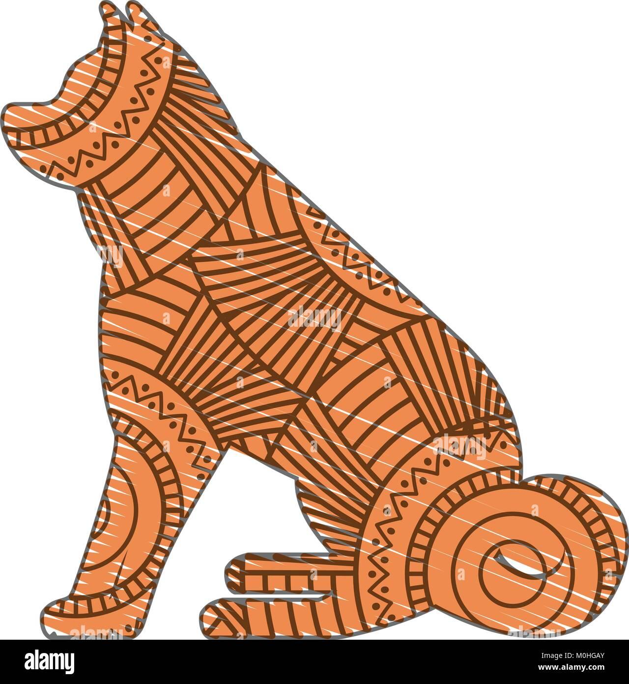 Dibujadas a mano para adultos páginas para colorear con el perro ...