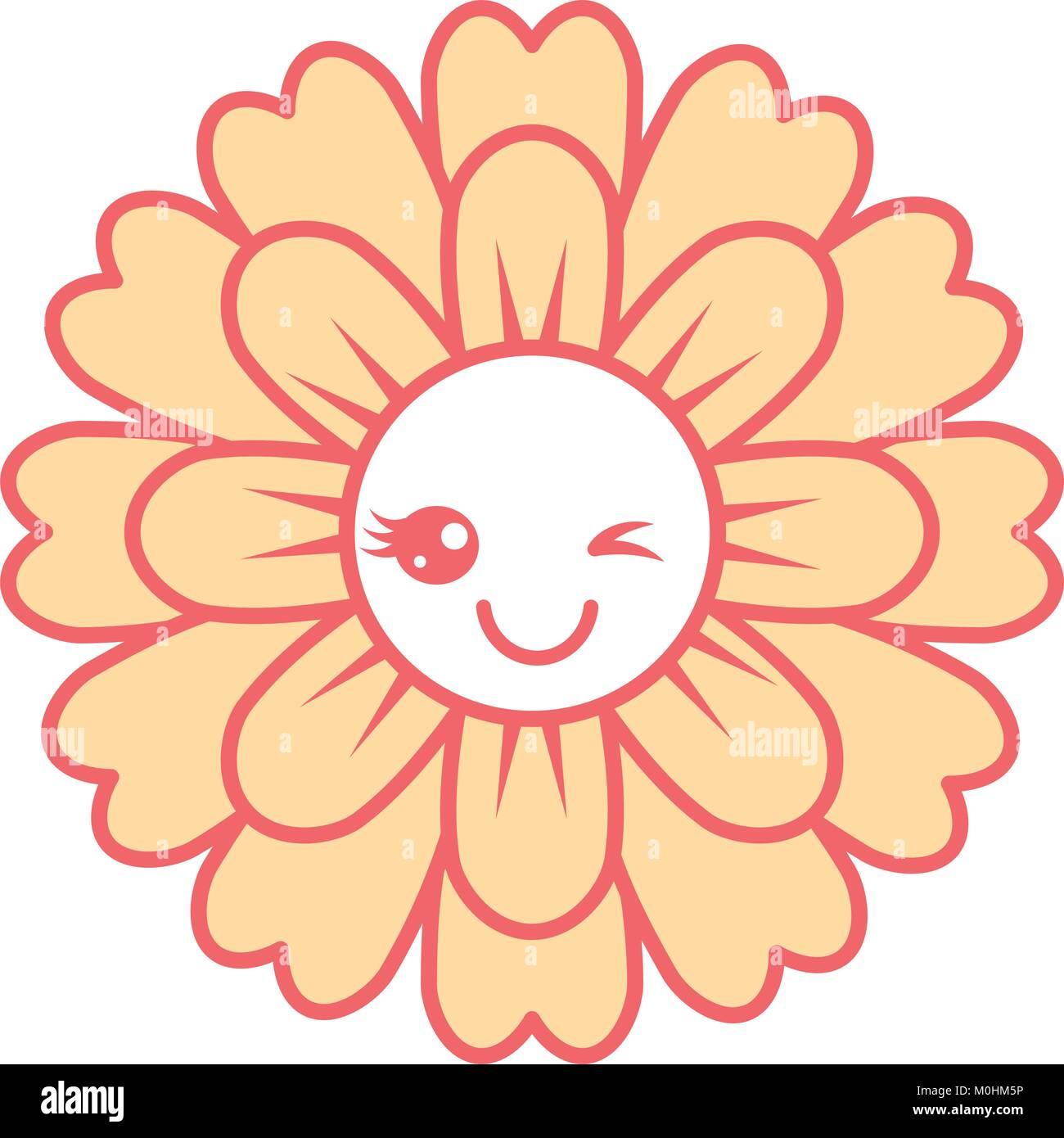 Kawaii Cute Dibujos Animados Petalos De Flores Ilustracion Del