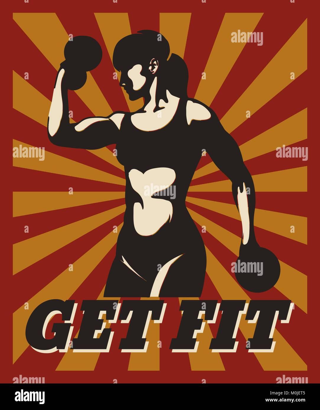 Sport Fitness Póster Tipográfico En Estilo Retro Formación