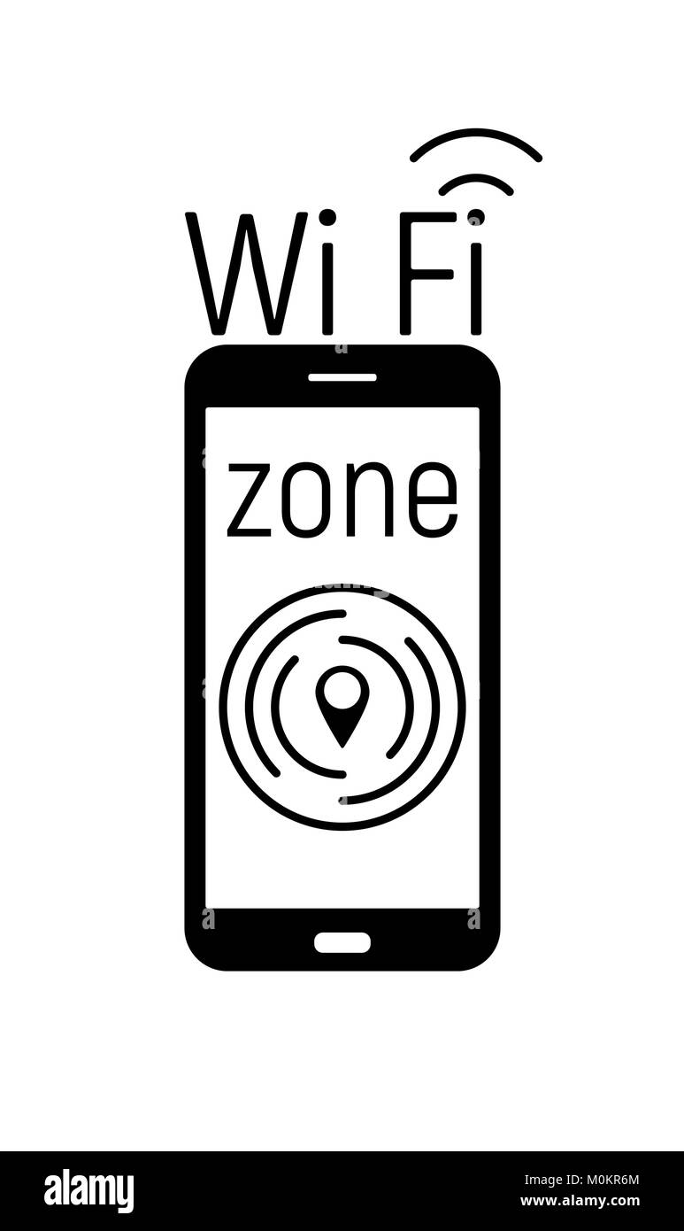 Zona Wi-Fi icono blanco y negro aislado en blanco Imagen De Stock