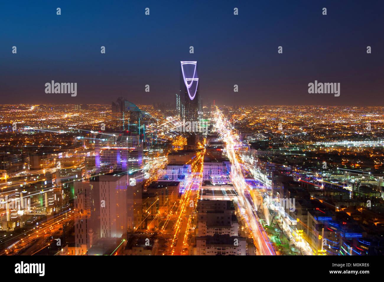 Ryad skyline en la noche #3 Imagen De Stock