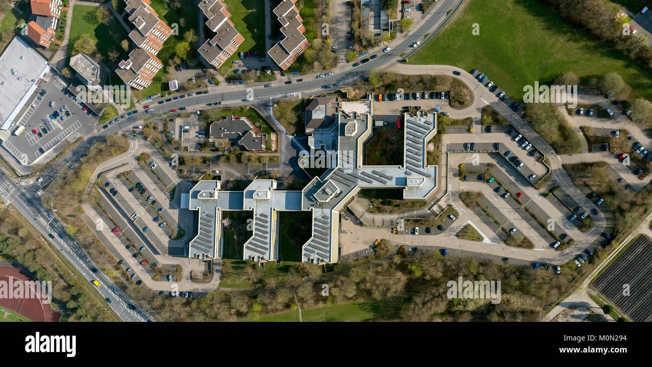 Casa del distrito de Detmold con oficina de tráfico en carretera Felix-Fechenbach-Str. 5, fotografía aérea de Detmold, Detmold, Renania del Norte-Westfalia, Alemania, Europ Foto de stock