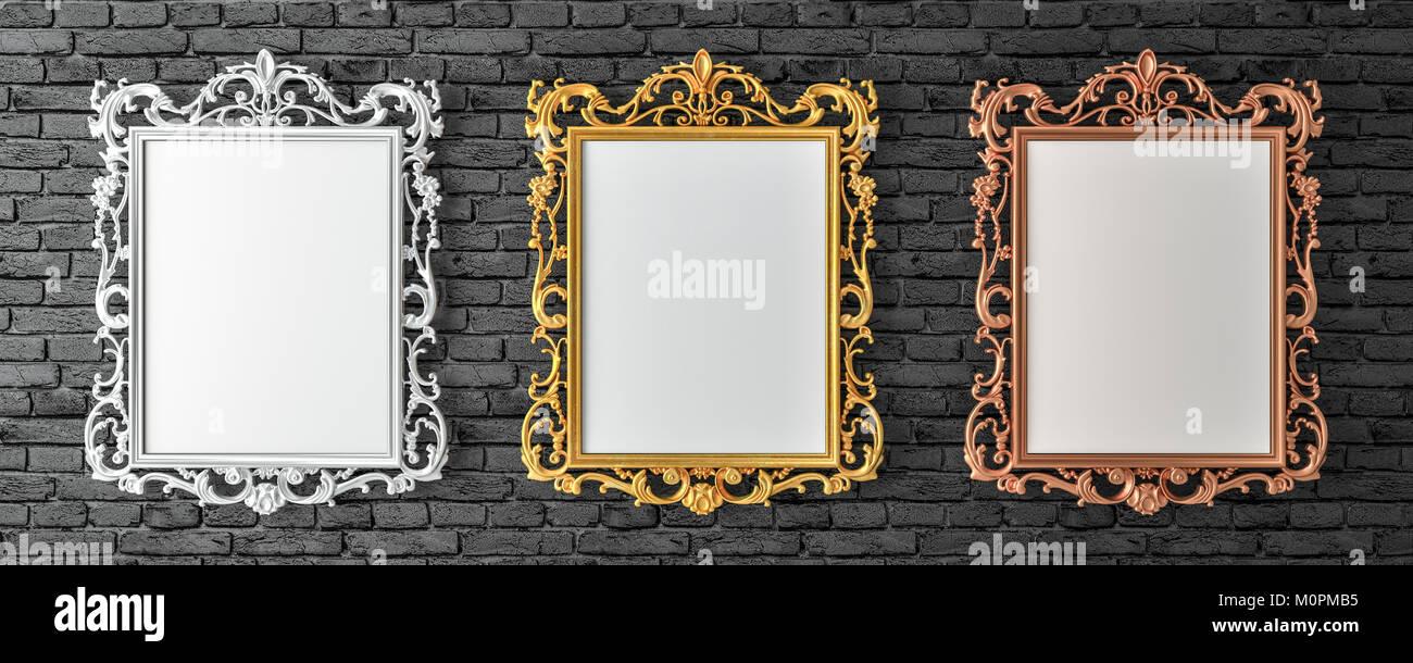 Lienzo con vintage de oro, plata, bronce marcos de pared de ladrillo ...