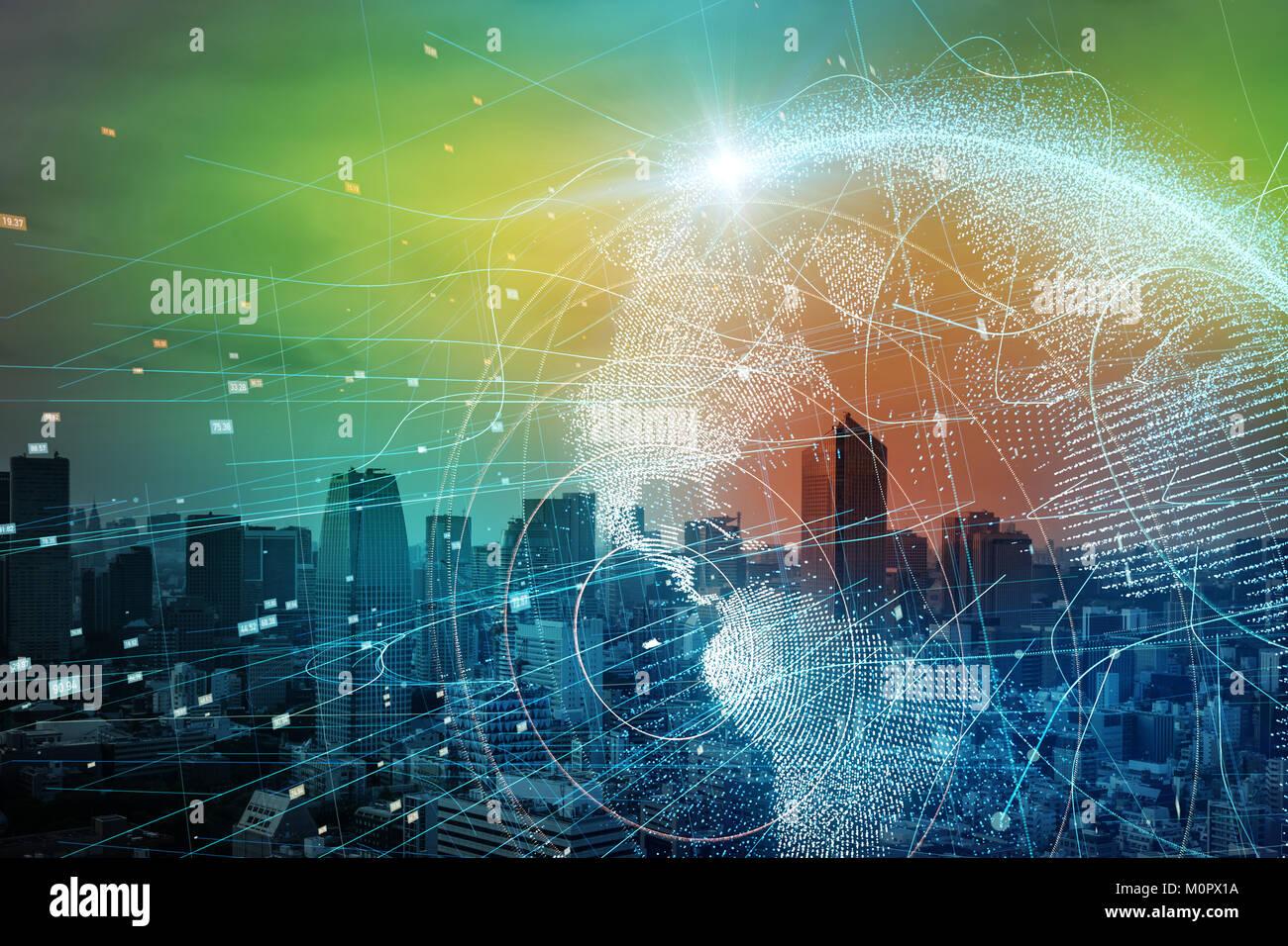 Smart City y el concepto de red mundial. Imagen De Stock