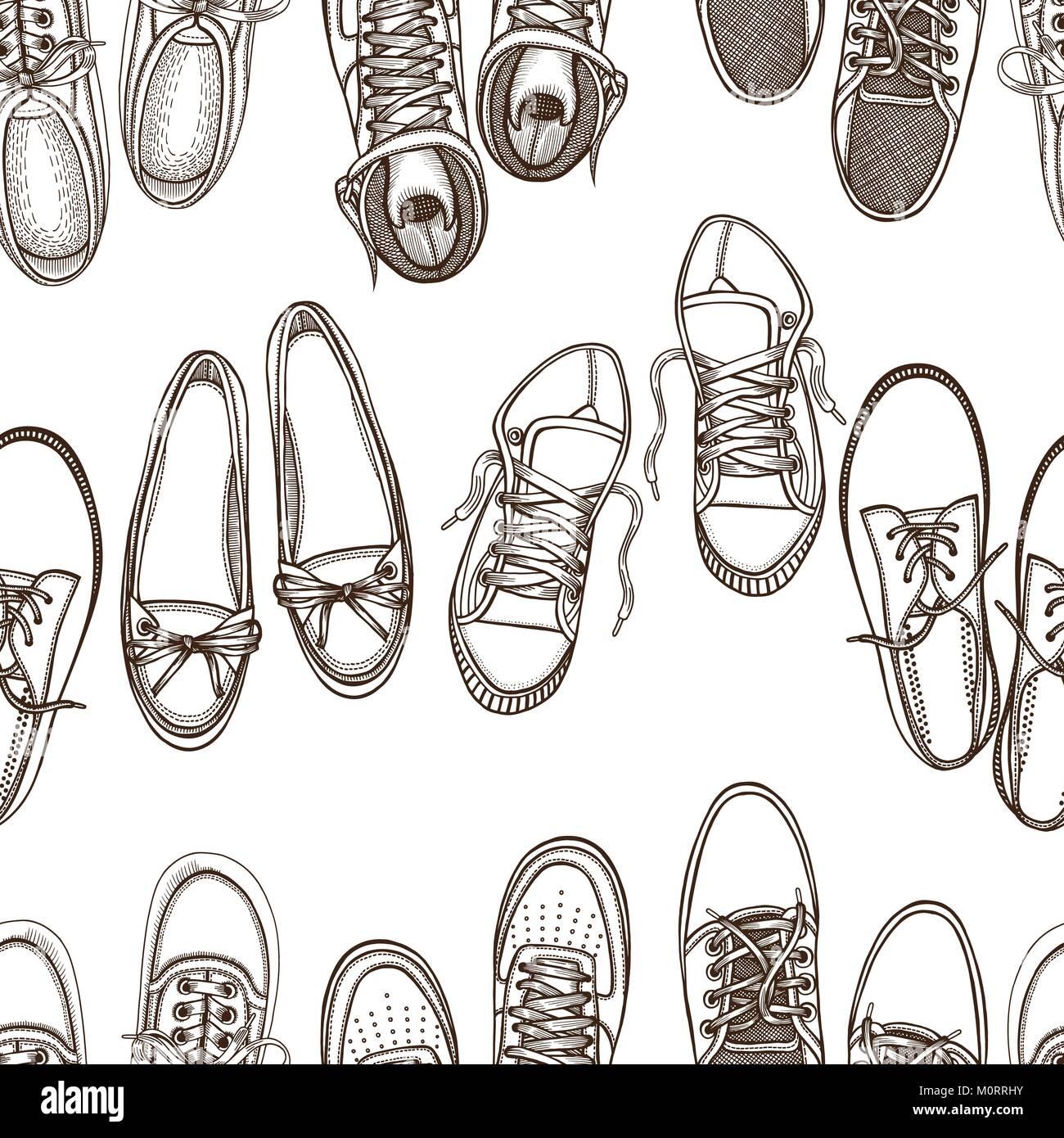Croquis dibujados a mano patrón sin fisuras de los zapatos