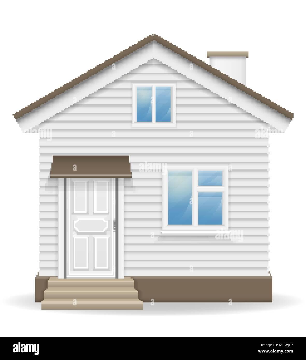 Pequeña casa de ilustración vectorial aislado sobre fondo blanco ...