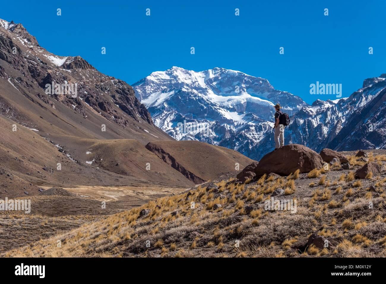 Argentina,Provincia de Mendoza,Aconcagua Parque Pronvicial,Mt Aconcagua (6692m la montaña más alta fuera Imagen De Stock