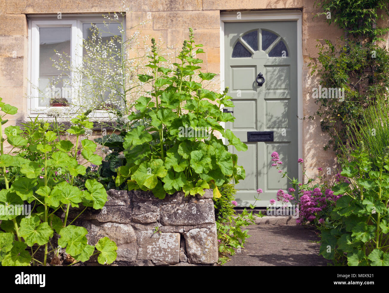 Puertas de madera verde en una antigua casa de piedra con for Puertas blindadas antigua casa gutierrez