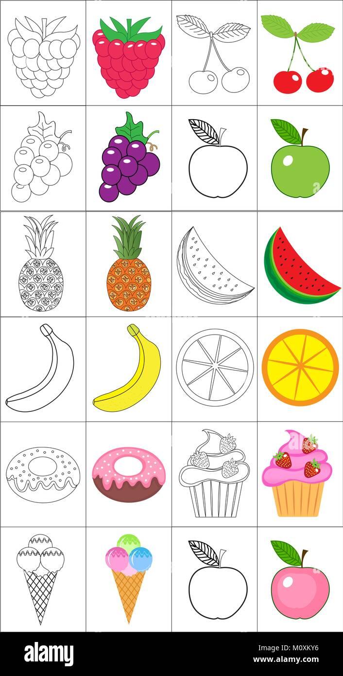 Coloring Book Pagina Coleccion Frutas El Boceto Y La Version En