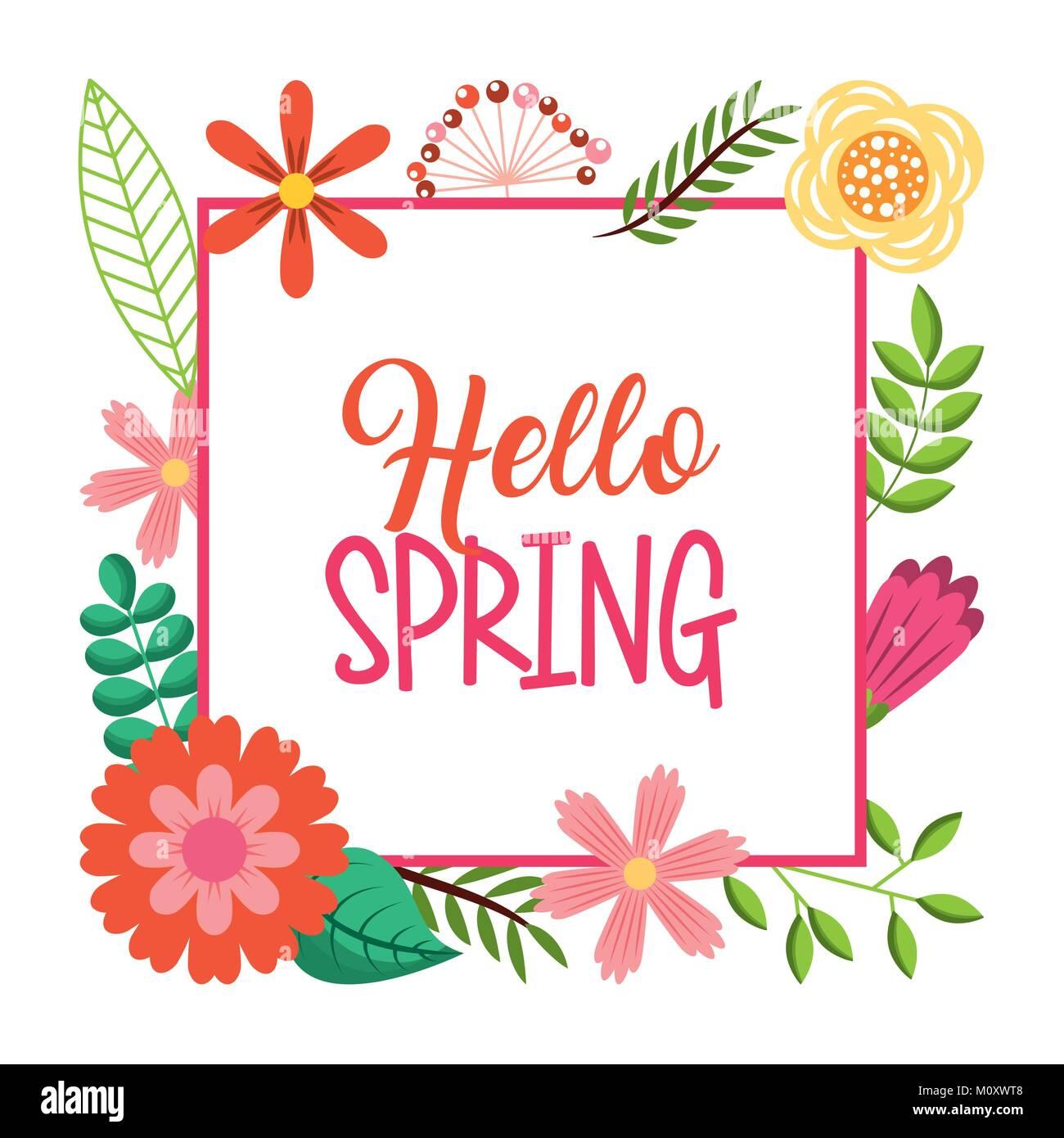 Hola tarjeta resorte rotulación decoración flores de marco de texto ...