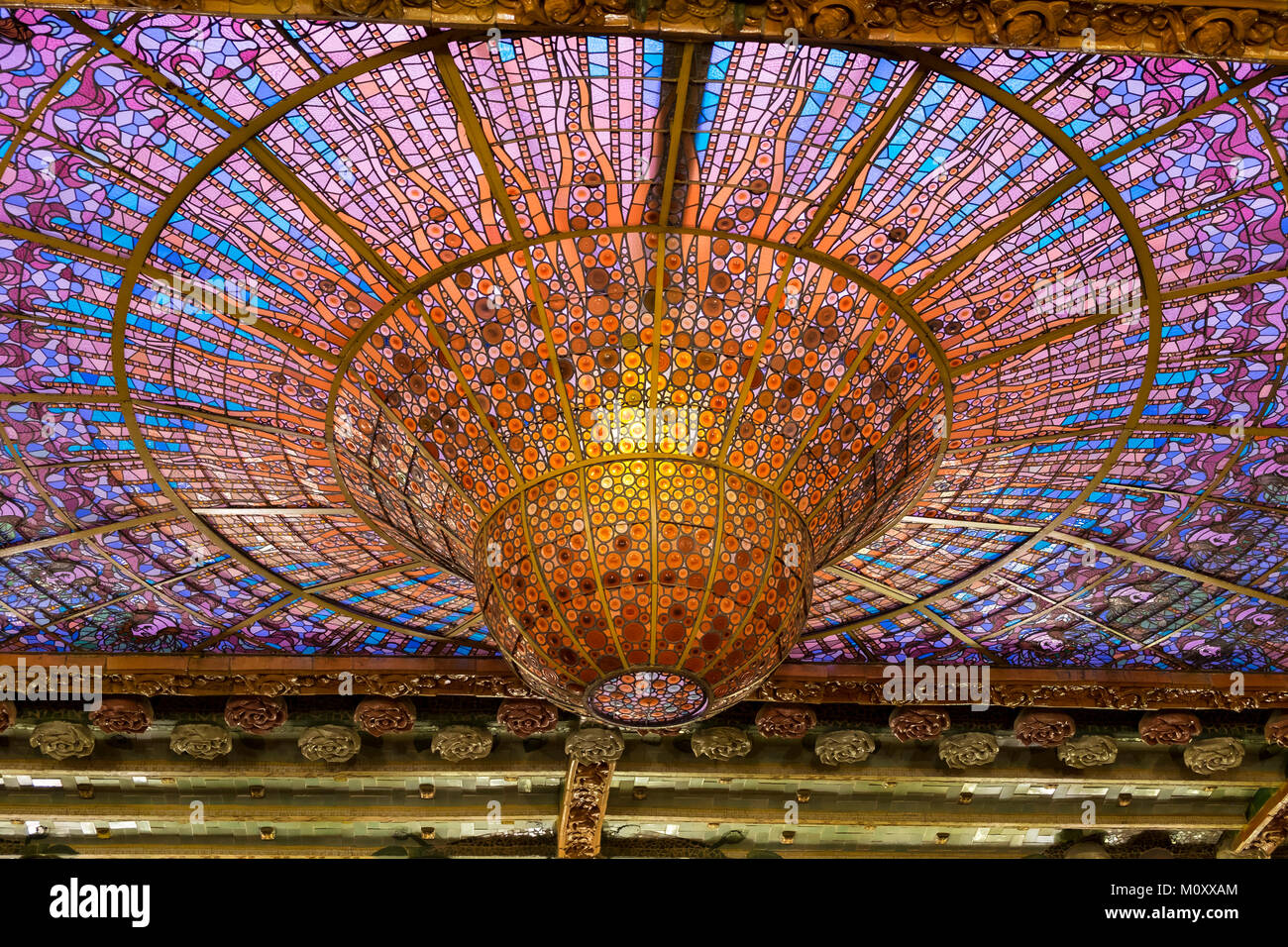 El techo del Palau de la Música Catalana Imagen De Stock