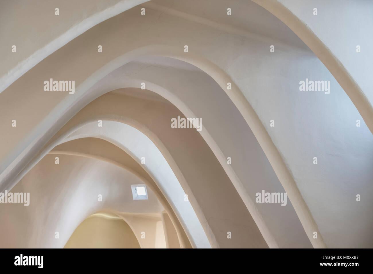 La habitación del ático de la Casa Batlló de Gaudí en Barcelona Imagen De Stock