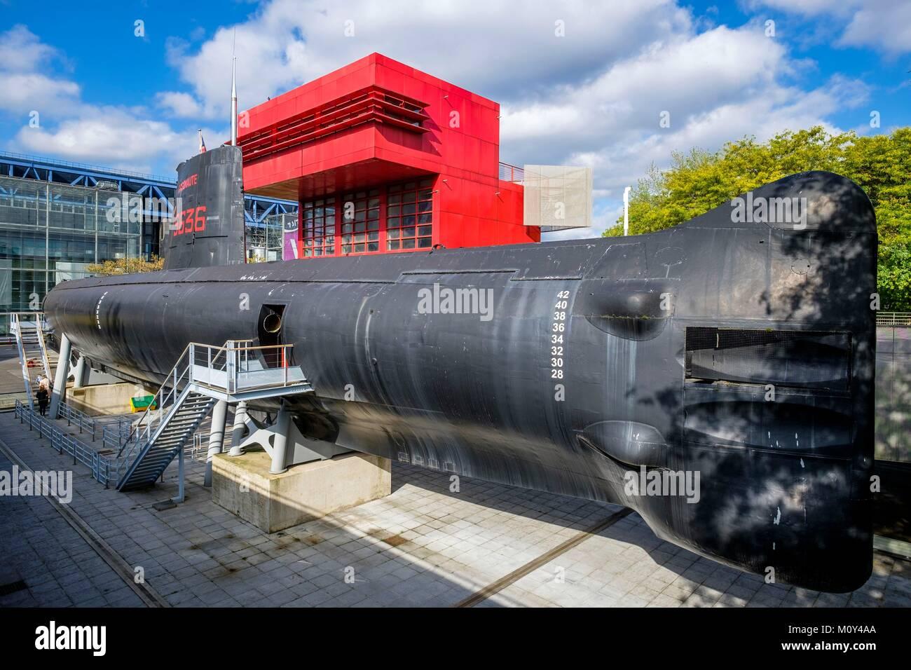 Francia,Paris,parque La Villette,el Argonaute submarino de la Marina Francesa Imagen De Stock