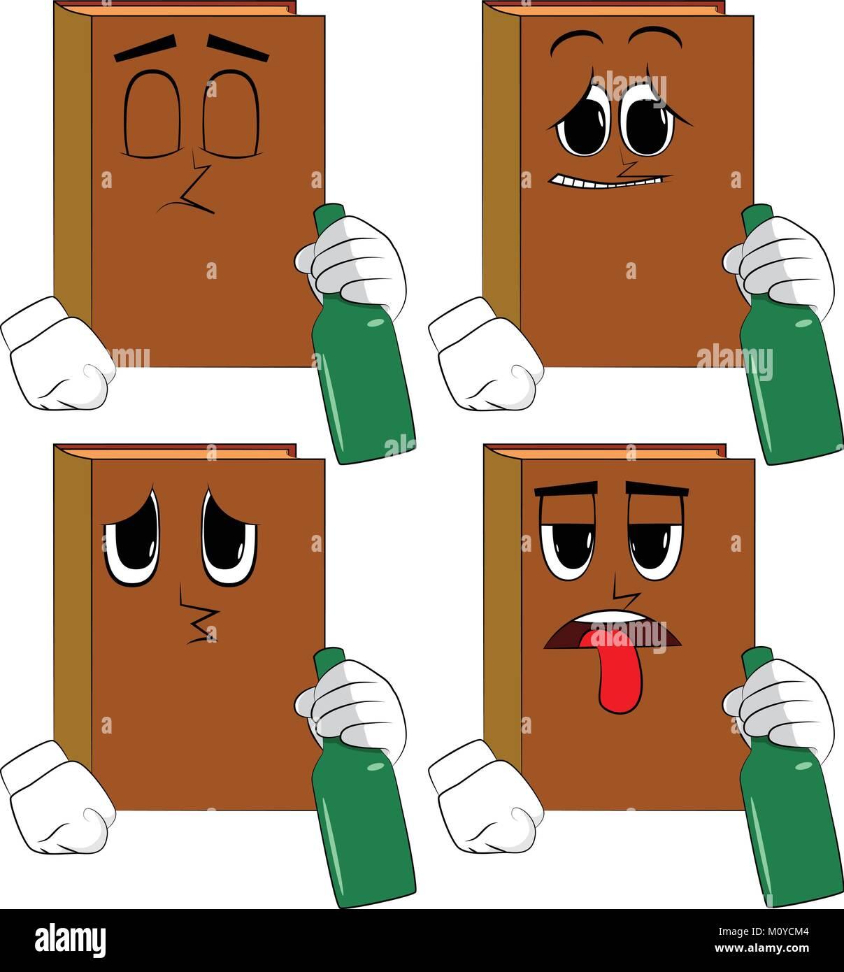 Libros sosteniendo una botella. Colección de libros de dibujos animados con  rostros tristes. Vector afe4fe952da0