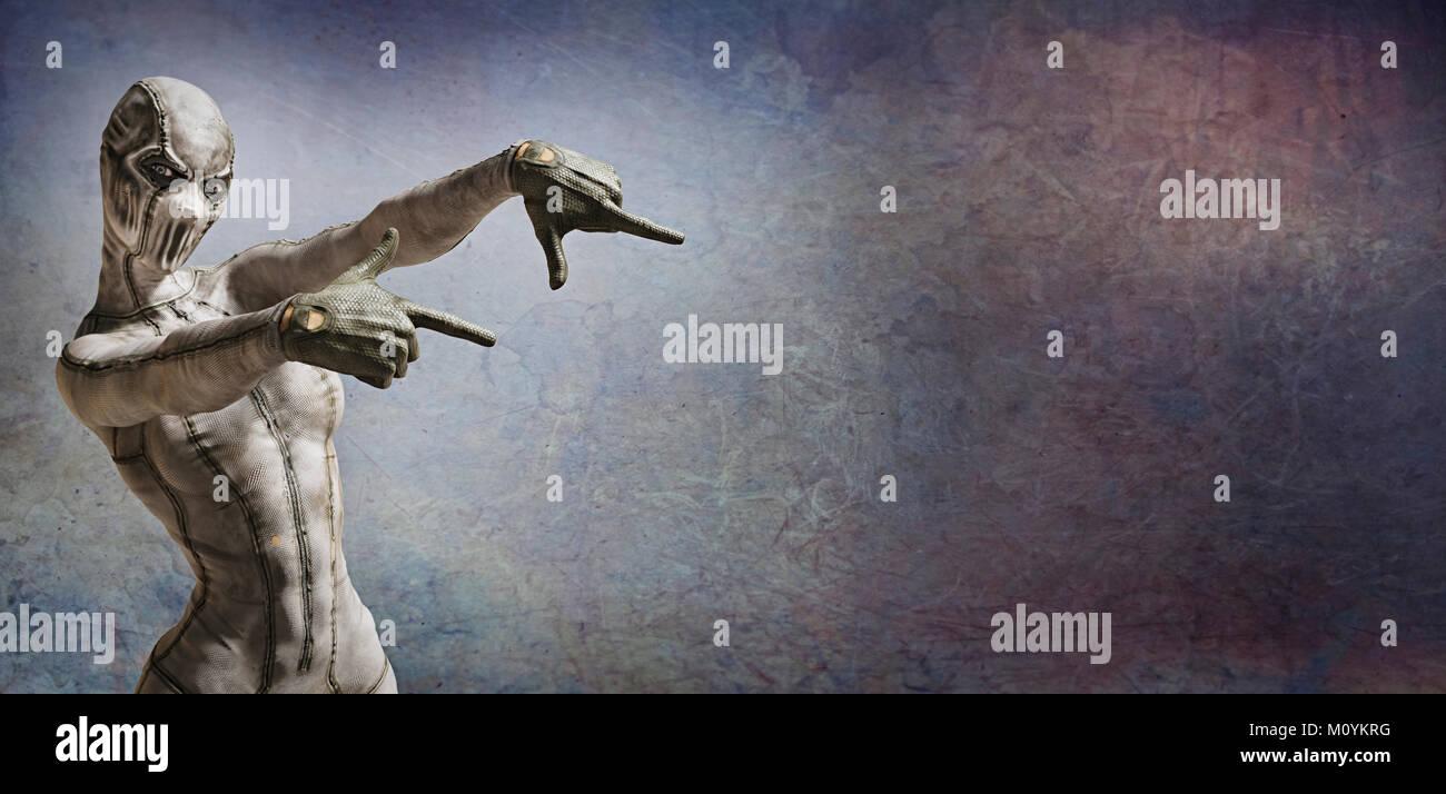 Mujer horrible monstruo apuntando al espacio de copia Imagen De Stock