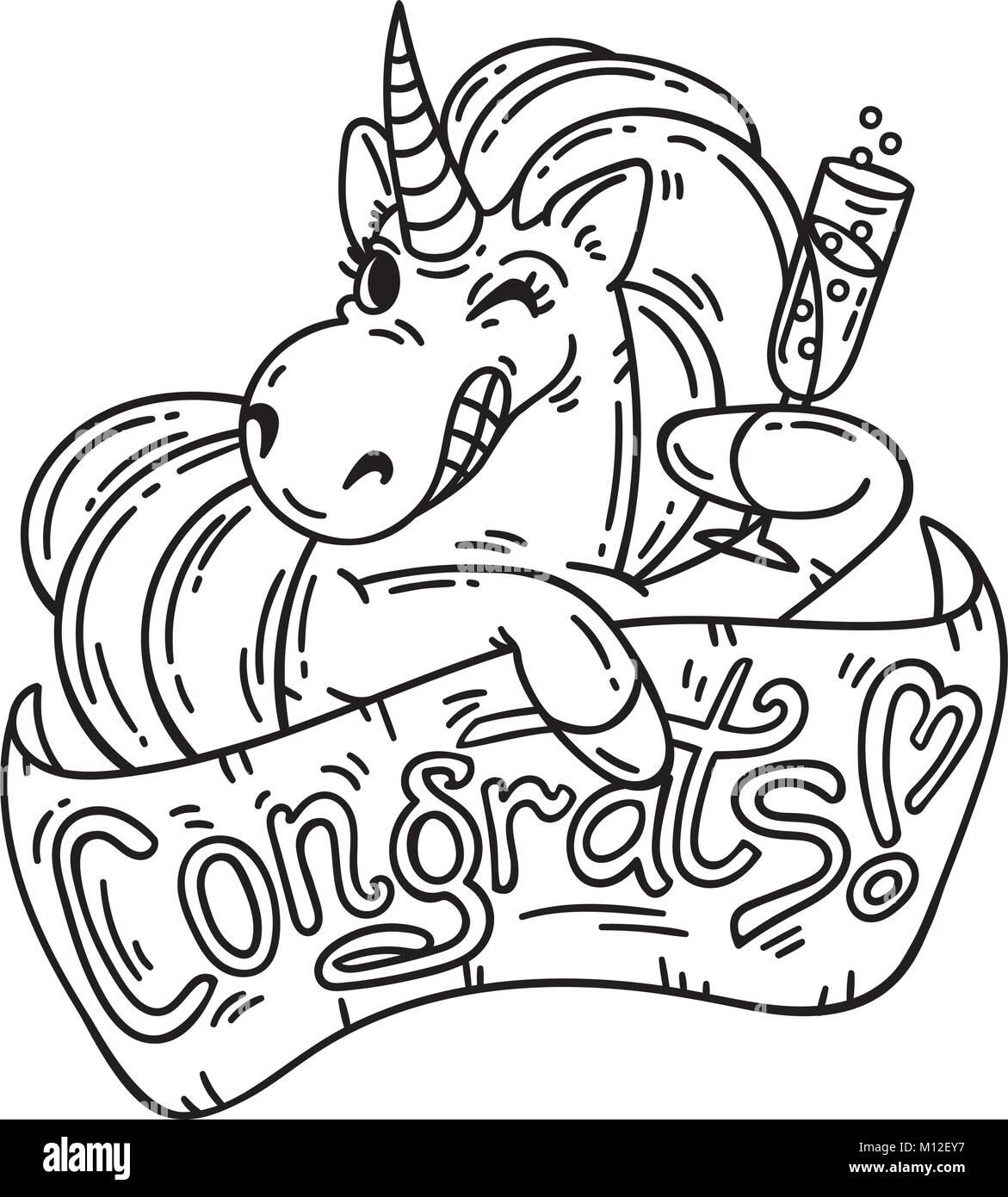 Tarjeta de felicitación de unicornio. Felicitaciones. Los objetos ...