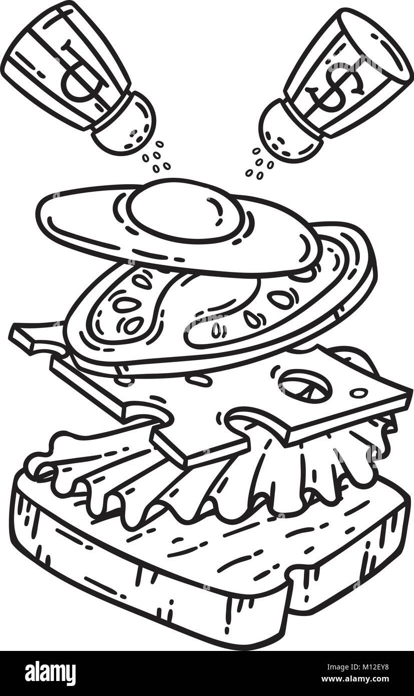 Desayuno. Sandwich con huevo. Los objetos aislados sobre fondo ...
